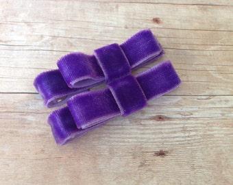 Purple velvet hair clips - hair bows, hair clips for girls, baby bows, baby hair clips, velvet bows, toddler bows