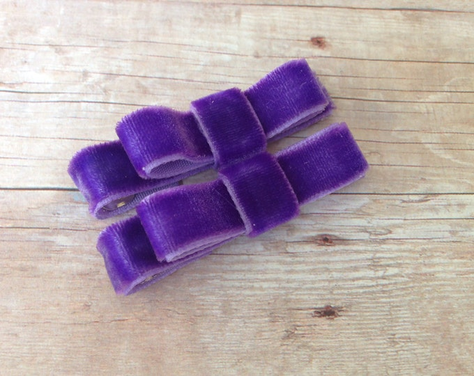 Velvet hair clips - purple bows, hair bows, hair clips for girls, baby bows, baby hair clips, velvet bows, toddler bows