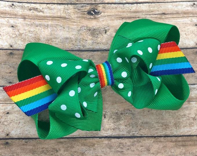 St. Patrick's Day hair bow - girls hair bows, toddler bows, baby bows, 4 inch hair bows