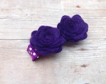 Purple flower hair clip - felt hair clip, hair bows, hair clips, hair bows for girls, baby bows, felt flowers