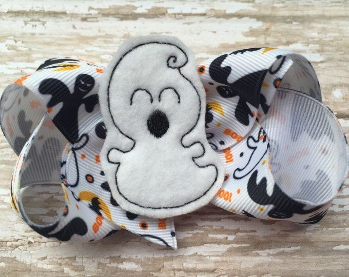 Halloween hair bow - ghost bow, halloween bows, hair bows, 4 inch bows, boutique bows, hair bows for girls, girls bows, toddler hair bows