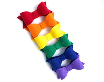 Rainbow hair bows - felt bows, hair bows, hair clips, bows for girls, hair clips for girls, baby bows, baby hair bows, hairbows