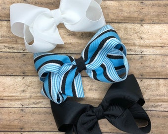 Blue, white and black hair bow set - hair bows, bows for girls, baby bows, hair clips, toddler bows, boutique bows, 4 inch hair bows