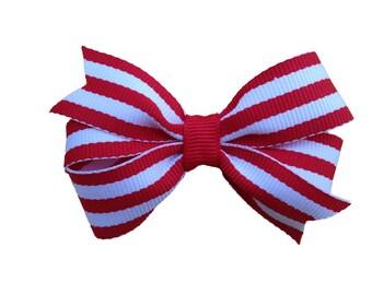 Red striped hair bow - hair bows, bows for girls, baby bows, toddler hair bows, hair clips for girls, 3 inch hair bows