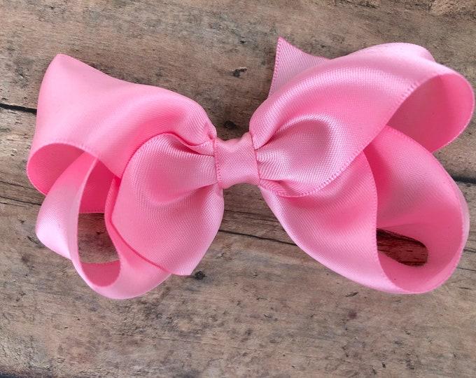Satin hair bow - pink hair bow, hair bows, satin bows, hair bows for girls, toddler bows, hair clips
