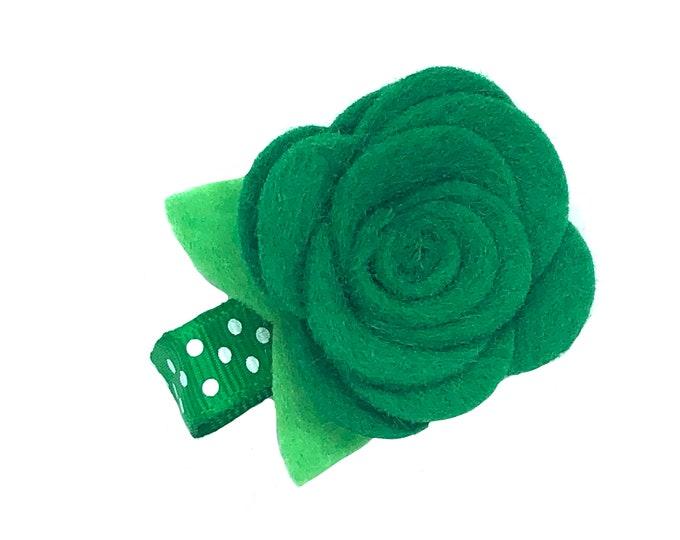 St. Patrick's Day felt flower hair clip - felt bows, felt hair bows, baby hair bows, baby bows, flower hair clips, flower hair bows