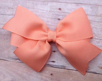 Peach hair bow - hair bows, bows for girls, toddler bows, pigtail bows, baby bows, hair clips, 4 inch hair bows