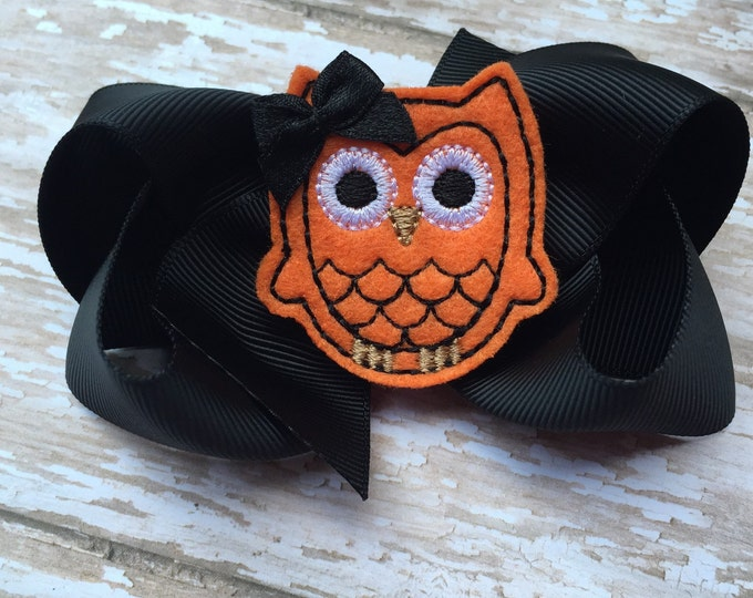 Owl bow - hair bows for girls, toddler hair bows, girls hair bows, boutique bows, 4 inch hair bows
