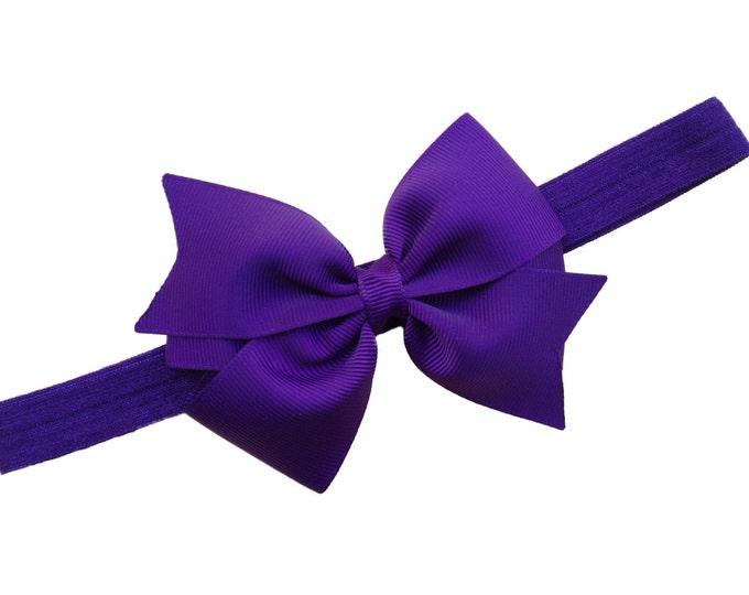 Dark purple baby headband - baby girl headband, baby headband bows, newborn headband, baby bows, baby girl bows, hair bows