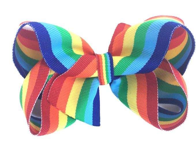 Rainbow hair bow - rainbow bow, hair bows, girls hair bows, hair bows for girls, toddler hair bows, big hair bows, boutique bows, baby bows