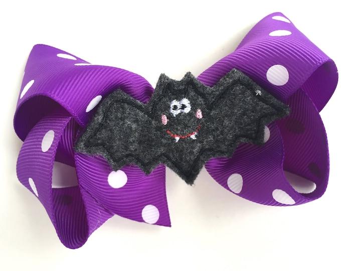 Halloween hair bow - halloween bows, purple bow, 4 inch bows, halloween hair bows, hair bows, toddler hair bows, boutique hair bows, bows