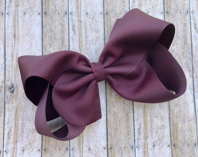 Large 6 inch hair bow - burgundy hair bow, cheer bows, big bows, hair bows, hair bows for girls, big hair bow, girls bows
