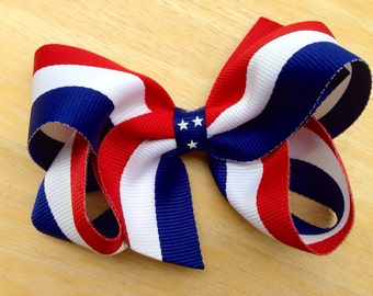 Red, white & blue hair bow - Fourth of July hair bow, patriotic bow, girls bows, toddler bows