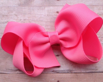 Pink sorbet hair bow - hair bows for girls, toddler bows, big hair bows, boutique bows, 4 inch hair bows