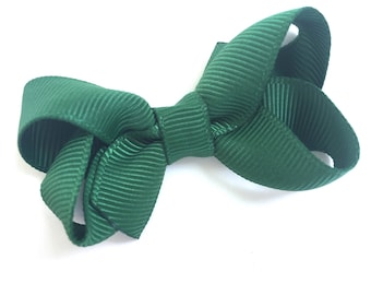 Baby hair bow - dark green hair bow, hair bows for girls, baby bows, toddler hair bows, pigtail bows