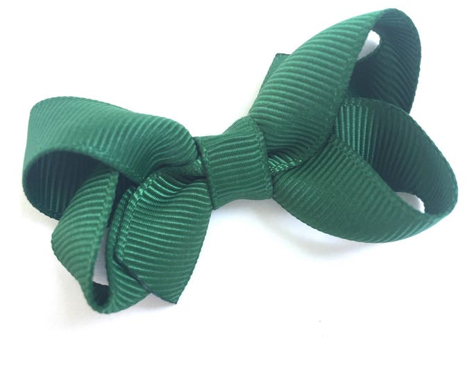 Baby bow - dark green - hair bows, hair bow, bows, hair clips, hair bows for girls, baby bows, baby hair bows, baby hair clips, pigtail bows