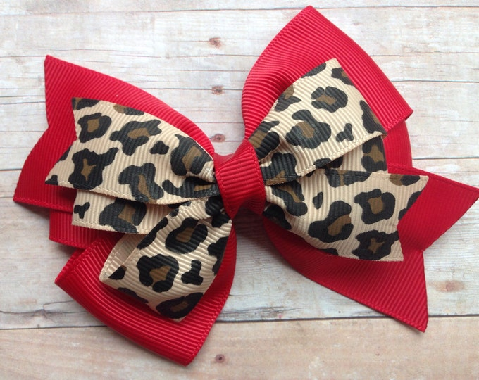Leopard print hair bow - hair bows, girls hair bows, toddler bows, 4 inch hair bows, pinwheel bows