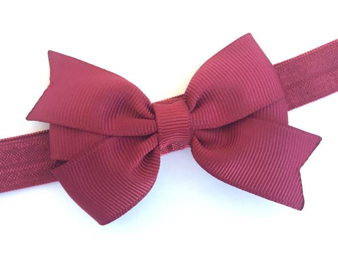 Maroon baby headband - baby headband bows, newborn headbands, baby bows, baby girls headbands, hair bows, headbands baby