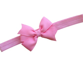 Pink baby headband - baby headband bows, baby girl headbands, newborn headbands, baby bows, headbands baby girl