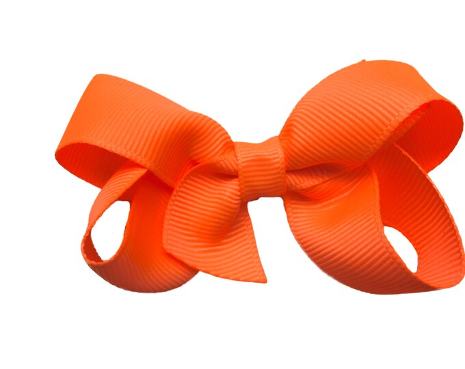 Neon orange hair bow - hair bows for girls, baby bows, pigtail bows, toddler bows, 3 inch hair bows