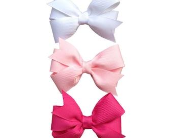 Set of 3 hair bows - hair bows for girls, baby bows, toddler hair bows, 3 inch hair bows, pinwheel bows