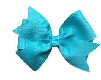 Turquoise hair bow - hair bows, bows for girls, baby bows, girls hair bows, toddler hair bows, hairbows, big hair bow