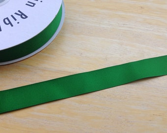 5 yards 7/8 inch green grosgrain ribbon - green ribbon, hair accessories, bow supplies