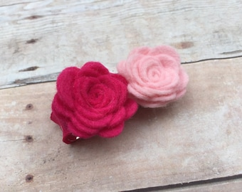 Pink felt flower hair clip - felt hair clip, hair bows, hair clips, hair bows for girls, baby bows, baby hair clips, hairbows