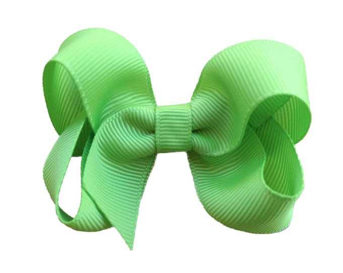 Toddler hair bow - apple green hair bow, girls bows, baby bows, toddler bows, 3 inch hair bows, boutique bows