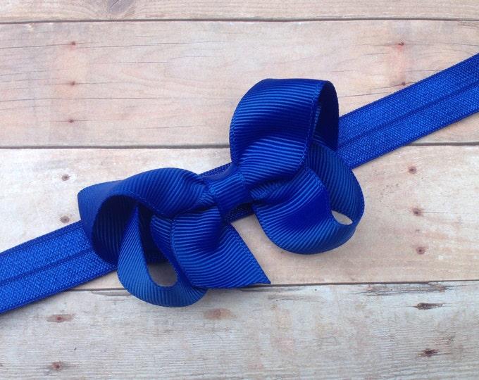 Blue baby headband - baby headband bows, baby girl headbands, newborn headbands, baby bow headband, baby bows