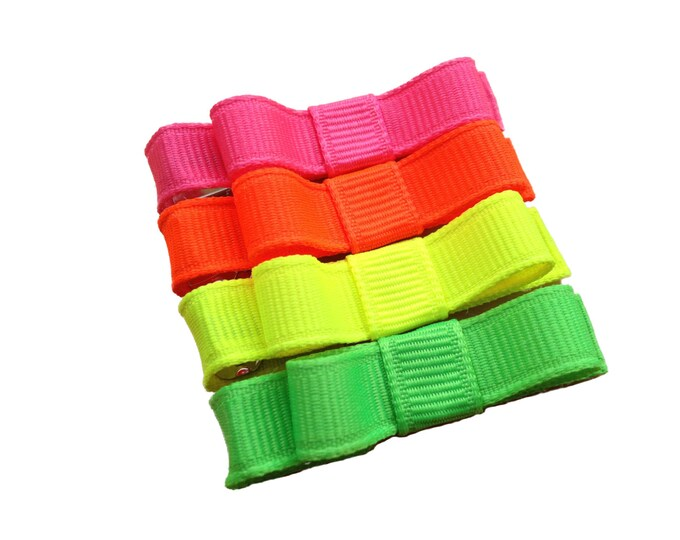 Set of 4 neon baby hair clips - neon hair bows, hair bows, hair clips, baby bows, girls bows, baby hair clips, baby girl bows