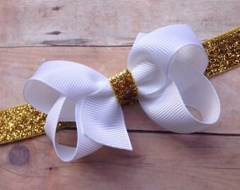 Gold baby headband - baby headband bows, baby girl headbands, baby bows, hair bows, newborn headbands