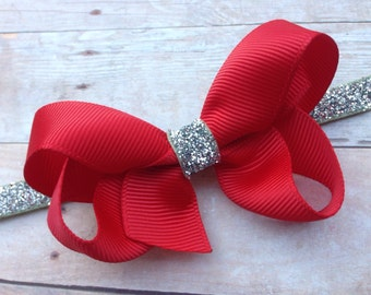 Red and silver baby headband - newborn headbands, baby bow headbands, baby headband bows, baby girl headbands, baby bows