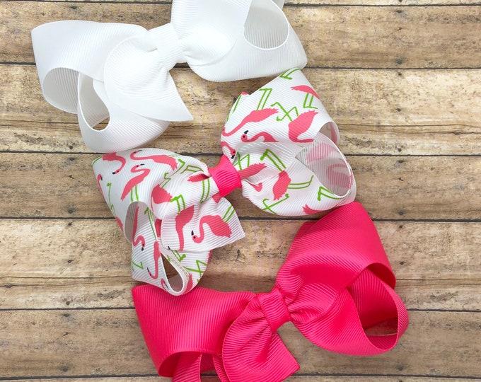 Flamingo hair bow set - hair bows, bows, hair bows for girls, baby bows, hair clips, toddler bows, boutique bows, 4 inch hair bows