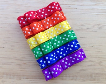 Rainbow hair bows - hair clips, hair bows, baby bows, baby hair bows, bows for girls, toddler hair bows, rainbow bows