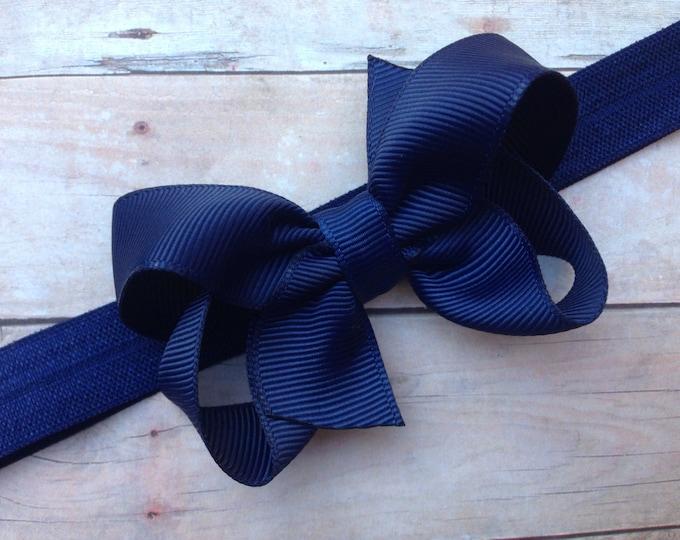 Navy blue baby headband - baby headbands, baby headband bows, baby girl headbands, baby bows, baby bow headbands, headbands baby, hair bows
