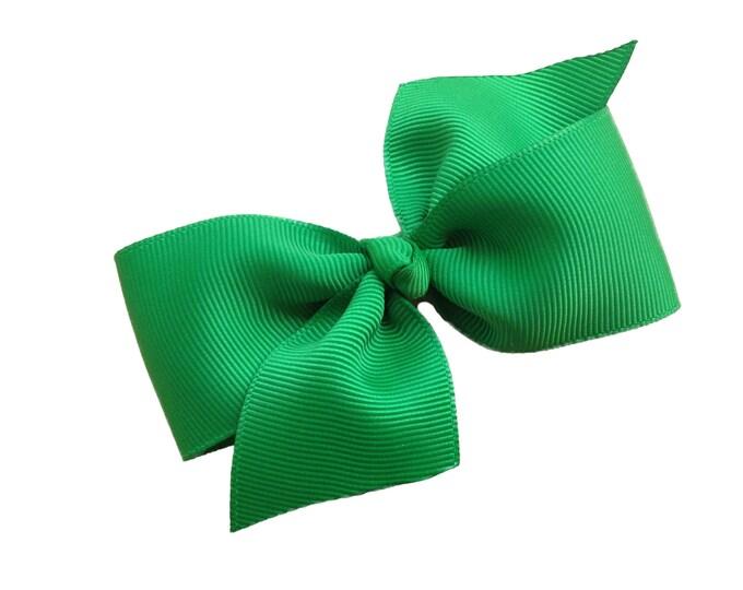 Green hair bow - hair bows, bows for girls, baby bows, toddler hair bows, 4 inch hair bows, pinwheel bows