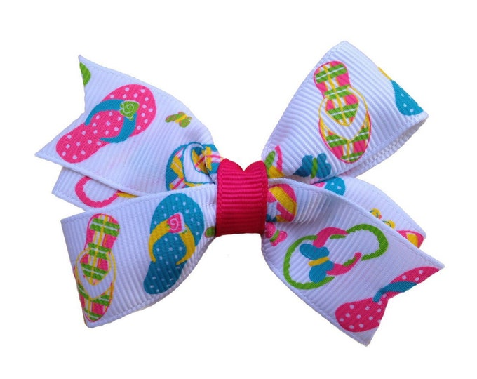 Flip flops hair bow - hair bows, bows for girls, hair clips, baby bows, pigtail bows, toddler bows, girls bows