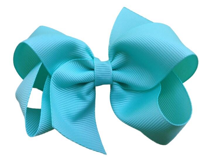 Aqua blue hair bow - hair bows, hair bows for girls, toddler bows, baby bows, girls hair bows, boutique bows, big hair bows, hair clips