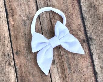 White baby headband - sailor bows, nylon headband, baby headband, baby headband bows, baby bows, baby hair bows