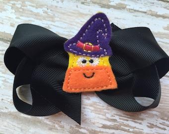 Halloween hair bow - candy corn bow, halloween bows, hair bows for girls, girls hair bows, toddler hair bows, boutique bows