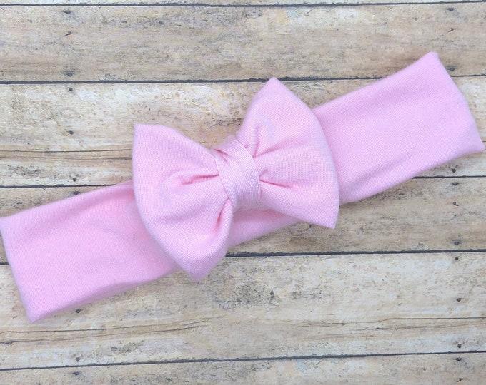 Light pink baby headband - baby head wrap, baby headband bows, newborn headband, baby bows, baby bow headband, hair bows
