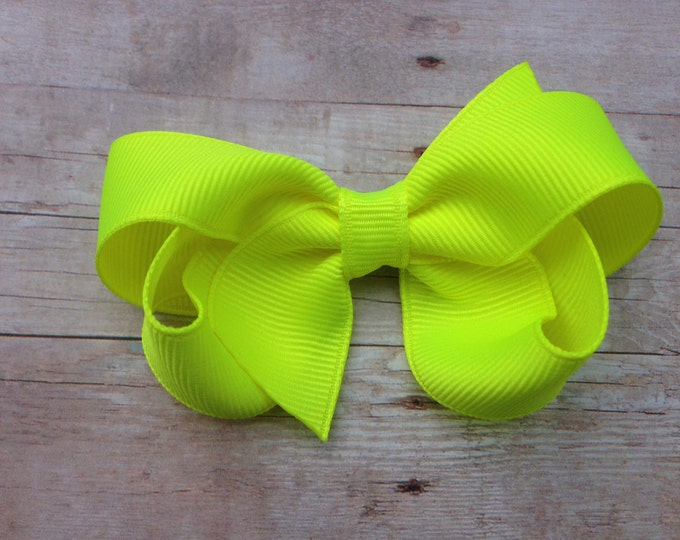 Neon yellow hair bow - hair bows, bows for girls, toddler hair bows, girls hair bows, baby bows, boutique bows