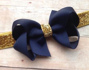 Navy blue & gold baby headband - gold baby headband, baby girl headband, baby headband bows, newborn headband, baby headbands, baby bows
