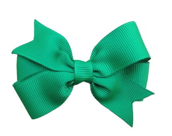 Emerald green hair bow - hair bows, bows for girls, toddler hair bows, baby bows, pigtail bows, 3 inch hair bows
