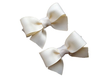 Ivory baby bows - hair bows, bows, hair clips, hair bows for girls, baby bows, baby girl bows, baby hair clips, pigtail bows, girls bows