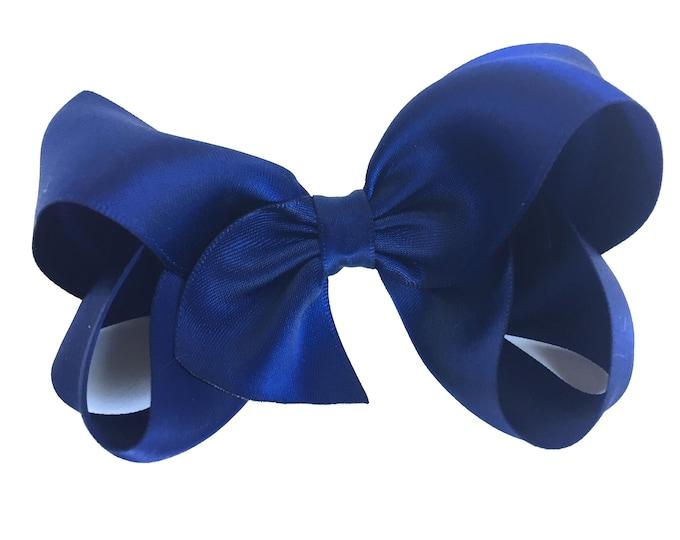 Navy blue satin hair bow  - hair bows, satin bows, boutique bows, girls hair bows, navy hair bows, girls bows, hair clips