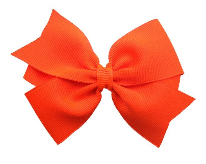 Neon orange hair bow - hair bows, bows for girls, hair clips, toddler bows, baby bows, girls bows