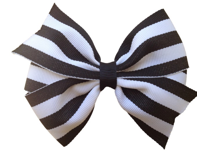 Black & white striped hair bow - hair bows, bows for girls, baby bows, toddler hair bows, hair clips for girls