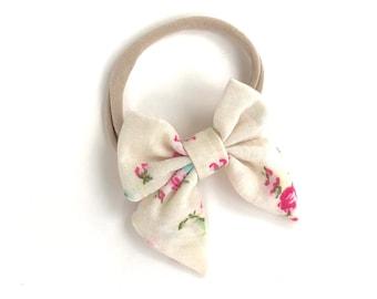 Floral baby headband - nylon headband, baby headband, baby girl headband, baby headband bows, newborn headband, baby bows